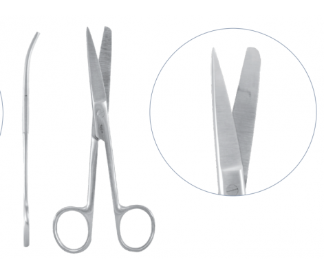 surgical scissors, curved 180mm sharp/blunt