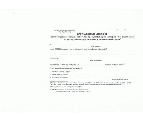 """doctor's certificate called """"becikowe"""""""