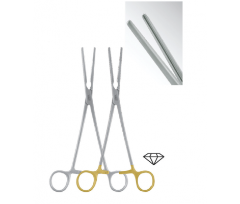 de bakey serrated clamps 200mm straight gold